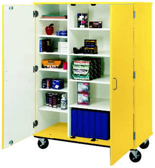 """67"""" Tall Closed Shelf Mobile Storage With Lock"""