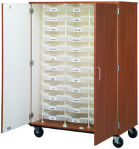 "Closed Bin Storage With Lock - (36) 3"" Bins"
